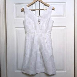 NWT J. Crew White Jacquard Dress with Pockets